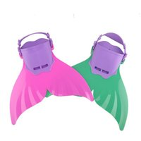 Wholesale 2 Colors Mermaid Monofin Fin Flippers Swimming Toy Tails Adjustable for Boys Girls Kids Summer Swimming Tools DHL E1135