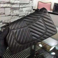chevron bag - Fab Price Medium Classic Womens Black Genuine Lambskin Leather Chevron Plaid Double Flaps Shoulder Bag Chain Handbag Black Hardware