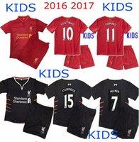 Wholesale AAA top quality Liverpool Kids Jerseys Football Shirt GERRARD BENTEKE LALLANA LUCAS COUTINHO FIRMINO STURRIDGE Away Home Jersey