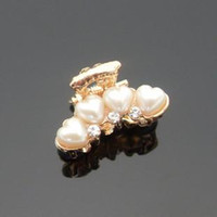 Wholesale hair Jewelry New Fashion Gold Silver Plated Clamps Women Elegant Rhinestone Imitation Pearl Small Hair Claws SHR132