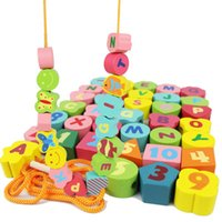 Wholesale Baby Toys Digital Animals Beads Wooden Toys Educational Blocks Stringing Beads Game Blocks Children Early Learning Kids Gift