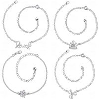 Wholesale New products listed Mixed order plating silver women s anklets