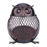 antique iron decoration - TOOARTS Owl mesh winebottle holder Owl Bottle cork container Iron art Practical decoration Creative sculpture Creative wine holder Crafts