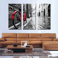 bicycles pictures - 3 Picture Combination Red Bicycle Lean Against Pole Wall Art Painting Print On Canvas The Picture For Home Modern Decoration