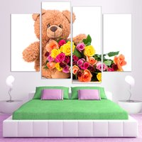 bear animal pictures - Colorful Polar Bear and flower Canvas Art Print Poster Wall Pictures for kids bedroom no frame