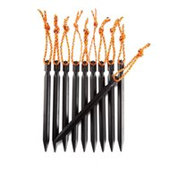 Cheap 10pcs set 18cm Aluminium Alloy Tent Peg Nail Stake Camping Pegs for Outdoor Hiking Camping Trip Essential Tool Kits