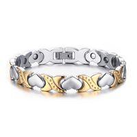 Wholesale Titanium steel jewelry Healing magnetic health care cuff bangle fashion enegry wristband arm bracelet magnets bijoux love joyas For Women