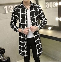 Wholesale 2016 Autumn Winter Overcoat Mens High Quality Fashion Mens Casual Printed Trench Coat Men Slim Fit Outerwear