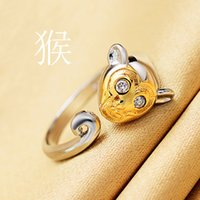 Wholesale Promotion Price Newest Real Gold Plated Adjustable Crystal Dog Tiger Pig Ring Animal Korean Fashion Rings for Women Wedding