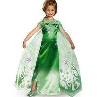 Wholesale Frozen Clothing childrens cosplay frozen dress Elsa Dress sequins lace girls striped sleeveless bodysuit kids cloak princess colorful dress