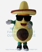avocados fruits - cool mexican avocado mascot costume with a big hat and sunglasses adult size cartoon fruit theme anime cosply costumes