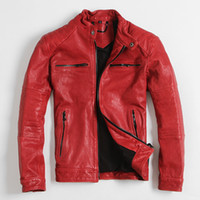 Wholesale New Mens Red Leather Jacket Stand Collar High Quality Real Sheepskin Slim Fit Men Short Casual Leather Coat