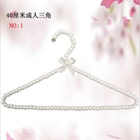 Wholesale 2016 Clothes Holder Coat Hangers Clothes For Adult Pearl Plastic Hanger Triangle hanger with a Bow cm colors ER