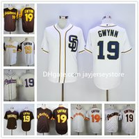 baseball coffee - 2016 Tony Gwynn Jersey Cooperstown San Diego Padres Jersey MLB Baseball Coffee Grey White Pinstripe Pullover Cream