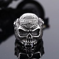 Wholesale 2017 BIKER motocyle skull stainless steel ring cool punk vintage unique mens jewelry for