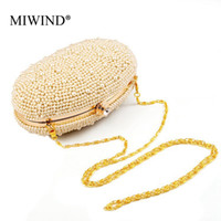 ZB-0009 beading eggs - MIWIND Brand Luxury Design Minaudiere Women Evening Bags Egg shaped Handbag Beading Pearl Party Handbag Bolsa Feminina