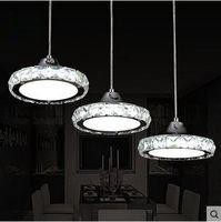 Wholesale LED three head lamp Restaurant Restaurant chandelier modern minimalist circular pendant lamp crystal lamp lamp bar dining room meal