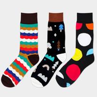 Wholesale Colorful Over Knee Socks - Wholesale-Cotton gentlemen business Leisure men's socks Fashion colorful Quilted Jacquard line hit color happy socks