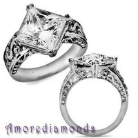 antique princess cut diamond ring - 5 ct F SI princess cut diamond solitaire antique vintage style ring platinum