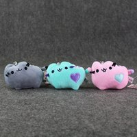 Wholesale Pcs10 cm Pusheen Cat Plush Dolls Toy Stuffed Soft Cookie Icecream Doughnut Animals Toys With Keychain Keyring Great Gift