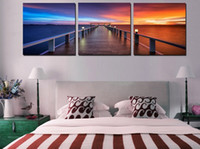 beautiful art paintings - 3 Panel Home Modern Decor Paintings Morning Sunrise On Sea Bridge Canvas Prints Picture Beautiful time Wall Art For Bedroom