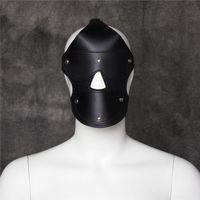 Precio de Traje de cuero completo-Máscara de cuero Capucha completa Bondage Fetiche del partido del traje de sujeción Juego de roles GIMP TT24 # R501