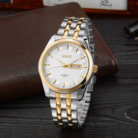 alloy dating - Men Luxury Copper Alloy Shell Steel White Dial With Minimalist Fashion Gift Double Dates Pointer Quartz Watch