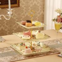 Wholesale European ceramics three layer creative tea cake plate dessert plate fruit plate candy dish dried fruit tray