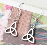 antique knotted - 2016 hot MIC x32mm Antique Silver Open Knot Triangle Charm Pendant Earrings Silver Fish Ear Hook Dangle Chandelier Jewelry E104