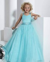 Wholesale Blue Ball Gown Floor Length Sweetheart Little Girl Pageant Dresses Double Strapped Beaded Pleated Ruched Tulle Dress