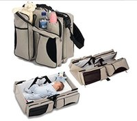 baby crib station - 3 in Diaper Bag Travel Bassinet Change Station Cream Multi purpose Baby Diaper Tote Bag Bed Nappy Infant Carrycot Crib Cot