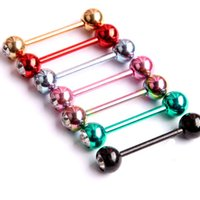 Wholesale 12Piece G x16x6mm Stainless Steel ball Tongue Ring Barbell Ring Tongue nail Body Piercing Jewelry