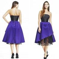 Wholesale Modest Homecoming dress short graduation dresses strapless zipper back party gowns black lace purple satin a line tea length vestidos