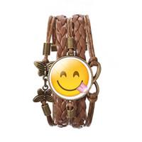 bezel set diamond pendant - 2016 New emoji smiley face charm Time gemstone bracelet hand woven butterfly Pendant Christmas gift for women