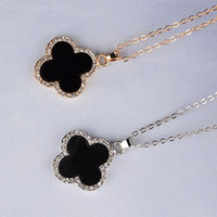 Cheap Classic clavicle necklace with diamond four leaf clover pendant, gold and silver,hign quality, free shipping