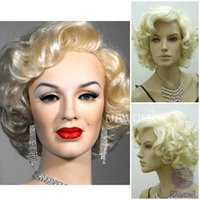 Wholesale W3840 Marilyn Monroe Cosplay Wigs Women Blonde Short Curly Hairpiece Europe America Hair Wigs New Fashion Trendy