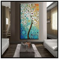 acrylic tree painting - abstract canvas wall art modern acrylic textured white cherry blossom tree oil painting on canvas for living room decoration