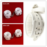 Wholesale Sex Collar Leashes - White PU Leather Soft Padded Bondage Kit Hands Cuffs & Ankle Cuffs & Neck Collar With Leash Bondage Retraint Sex Toys For Couple