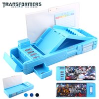 Wholesale Transformers Students Multifunction Stationery Pencil Case Korean Sky Blue Box