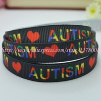 autism grosgrain ribbon - quot mm Autism awareness heart love autistic puzzle Printed grosgrain ribbon hairbow DIY handmade YD
