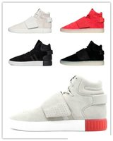 Wholesale With Box Original Kanye West Boost High Tubular Invader Strap quot core black vintage white quot Mens Sports Running Shoes Sneakers Women