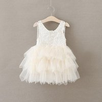 Wholesale Children Xmas Clothing Girl Sleeveless Lace Tutu Dresses Girl Christmas Party Dress For T