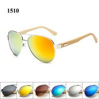 arming pilots - Pilot sunglasses men brand designer bamboo arm sun glasses with UV400 mirror lens and matel hinge eyewear