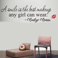 best sales quotes - Hot Sale Removable Smile Is the Best Makeup Any Girl Art Mural Decal Decor Quote Home Bedroom Living Room Wall Sticker DIY