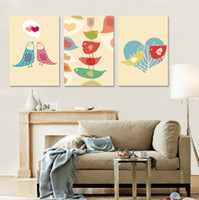 art prints birds - Pieces unframed Home decoration art picture Canvas Prints Cartoon birds tree Abstract oil painting potted flower tulips