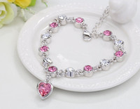 bar titanium alloys - Hot selling alloy jewelry fashion charms Hand catenary red rose crystal Redline bracelet and bangles