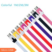 Wholesale Hot Flat Noodle cable Micro USB Cable Data Line M2M3M Colorful USB Cable For Samsung Galaxy S5 S4 Iphone s plus