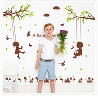 """Murals PVC Animal Wholesale Cute Boys and Girls A Happy Day Wall Stickers Bedroom Living Room Children's Room Decorative PVC Removable Wall Decor 49.2x52.4"""""""