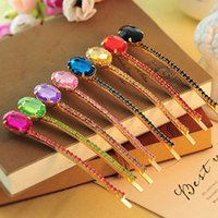 Wholesale Hairpin Korean Gum For Hair Korean Jewelry Elegant Gem Diamond Crystal Hairpin Box Side Clamping The Word Folder Headdress Hair Jewelry