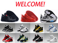 air free military - 2016 high quality air retro IV Man basketball shoes Fire Red Bred Oreo White Cement CAVS Military Blue Athletic shoes Free shippin